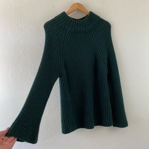 Tularosa Forest Green Knitted Bell Sleeve Sweater